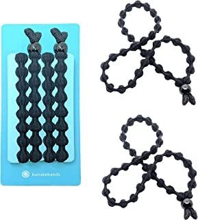 Bunzee Bands - NEW Ultimate Headband Hair Tie for Thick Heavy Natural Kinky & Curly Hair. Adjustable Sizing for the Perfect Ponytail, Hair Bun, High Puff and Updos - PATENT PENDING (2 Pack, Black)