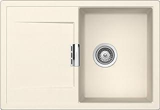 SCHOCK kompakte Küchenspüle 74 x 51 cm Mono D-100S Magnolia - CRISTADUR beige Spüle mit Abtropffläche ab 45 cm Unterschrank-Breite