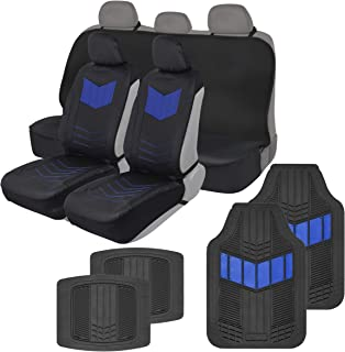 Motor Trend COMBO304 ComfortPlush Vegan Leather Sideless (Front 2pc) Waterproof Bench Seat Cover (Rear 1pc) & Heavy-Duty Floor 4pc Mat Car Auto (Sedan Truck SUV Minivan) Full Set Combo (Blue)