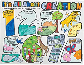 Fun Express Color Your Own It's All About Creation Posters (Set of 30) Religious Sunday School Craft Kits