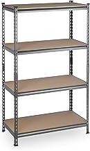 Relaxdays Plank voor zware lasten, 4 niveaus, draagvermogen 1440 kg, kelderrek om in te steken, hxbxd: 153 x 91 x 46 cm, s...