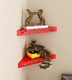 Home Sparkle Set of 2 Corner Wall Shelves Engineered Wood (Red) (41 x 29 x 5.5 cm)