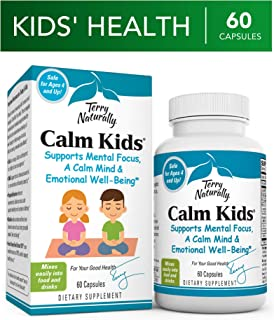 Terry Naturally Calm Kids - 60 Capsules - Childrens Mental Focus Support Supplement, Promotes Calm, Learning & Social Engagement, Contains Phosphatidylserine & Rhodiola - Gluten-Free - 60 Servings