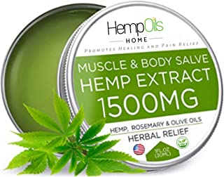 Natural Hemp Oil Salve for Pain Relief - 1500 MG - High Strength - 100% Natural Ointment - Hemp Extract for Arthritis, Knee, Joint & Back Pain, Hemp Balm for Inflammation & Sore Muscles