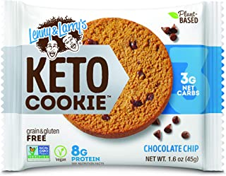 Lenny & Larry's The Keto Cookie, Chocolate Chip, 1.6oz, 12 Count - Vegan, Non GMO, Low Carb and Plant Based Protein Cookies