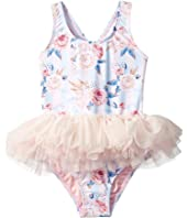Rock Your Baby - Blue Striped Peony Tulle One-Piece (Toddler/Little Kids/Big Kids)