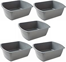 Vakly Rectangular Plastic Wash Basins, Gray, 8 Quart. (5 Pack)