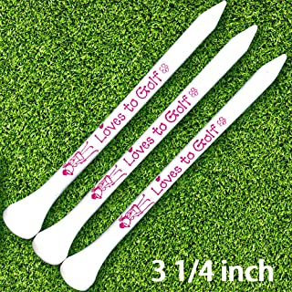 Golf tees 3 1/4 inch Wood White Color Long Golf tee with Loves to Golf Printing 30 Count
