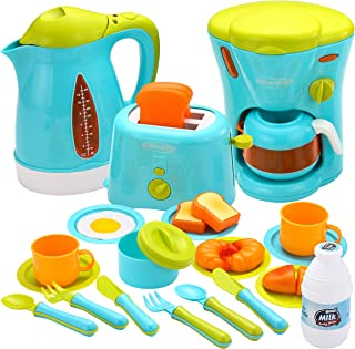 JOYIN Kids Kitchen Pretend Play Toys with Coffee Maker Machine, Kettle, Toaster, Utensils and Cutting Vegetables Cooking S...