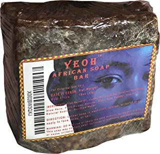 YEOH African Black Soap Bar, Eczema Soap 1lb (16 Oz), African Soap Bar for Acne Treatment, Dry Skin, Face & Body Wash, Scar Removal, Rashes, Burns, Made In Ghana, West Africa