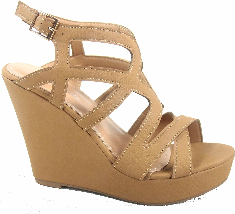Top Moda Cathy-55 Women's Fashion Strappy Wedge Open Toe Platform Sandal Shoes
