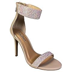 5119c987c53 Anne Michelle Women s One Band Embellished Dress Heel Sandal .