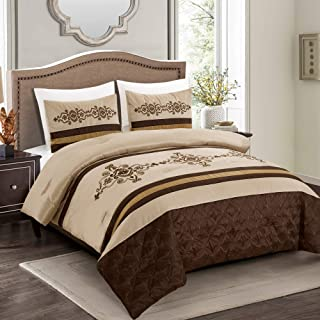 3 Pieces Royal Faux Silk Luxury Comforter Set Beige Brown Gold Luxury Embroidery Comforter King Size Bedding- Yasmen (King)