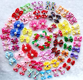 50pcs/pack Cute New Dog Hair Bows Pairs Rhinestone Pearls Flowers Topknot Mix Styles Dog Bows Pet Grooming Products Mix Colors Pet Hair Bows Topknot Rubber Bands