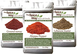 The Spice Way Essential Bundle - Premium Crushed Aleppo pepper Flakes, Lebanese Zaatar with Hyssop and Pure 100% Ground Sumac Bundle (3 packs of 2 oz each) …