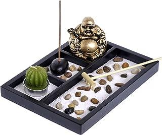 London Boutique Estatua de Buda tailandesa sentada para Velas de Incienso con Piedra Natural de ratán (Buda riéndose HY197)