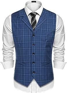 COOFANDY Men's Business Suit Vest Slim Fit Twill Dress Waistcoat for Wedding Party Dinner