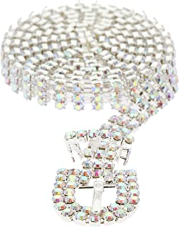 SP Sophia Collection Glitterati 3 Row Chic Women's Fashion Crystal Rhinestone Buckle Chain Belt