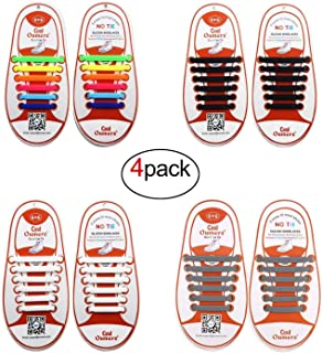 No Tie Shoelace (4packs), Lazy Tieless Silicone Rubber Sneaker Shoelaces for Kids and Adults, Waterproof/Durable, Easy to Install/Off