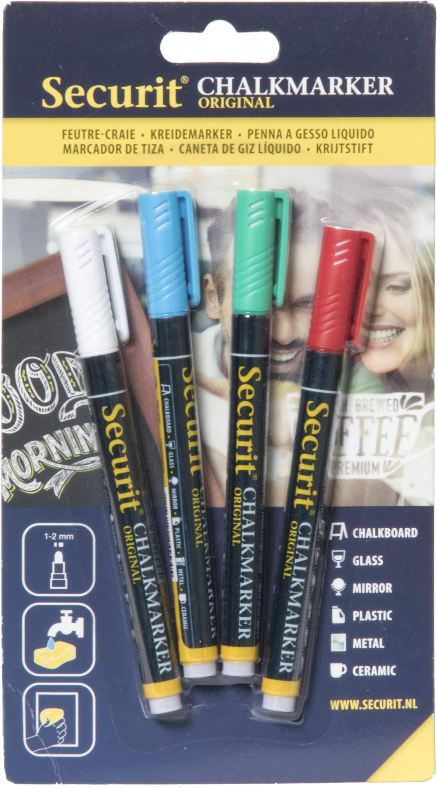 Securit 949697 - Pack de 4 marcadores de tiza liquido, colores surtidos: Amazon.es: Oficina y papelería