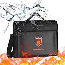 Fireproof Document Bag with Shoulder Strap, Fire and Water Resistant Pouch Money and Document Safe Bag with Handle, Portab...