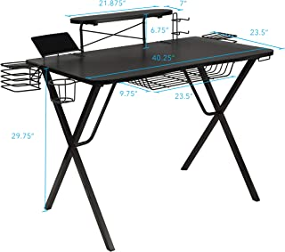 Atlantic Gaming Original Gaming-Desk Pro - Curved-Front, 10 Games, Controller, Headphone & Speaker Storage, 40.25