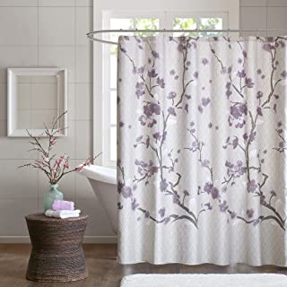 Madison Park 100% Cherry Blossom Printed Design Holly Modern Cotton Fabric Long, Floral Shower Curtains for Bathroom, 72 X...