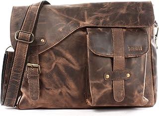 LECONI Messenger Bag DIN A4 Leder Damen Herren Ledertasche Schultasche Retro look Collegetasche natur 38x28x12cm LE3032