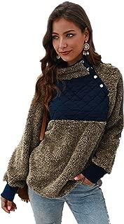 casuress Fashion Women's Casual Long Sleeve Sweater Contrast Button Fleece Pullover Sweatershirts Jacket Hoodies