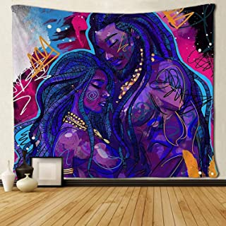 SARA NELL Tapestry African American Couple Lover Deep Love Tapestries Hippie Art Black Art Wall Hanging Throw Tablecloth 50X60 Inches for Bedroom Living Room Dorm Room