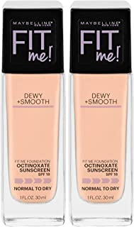 Maybelline New York Fit Me Dewy + Smooth Foundation Makeup, Ivory, 2 Count