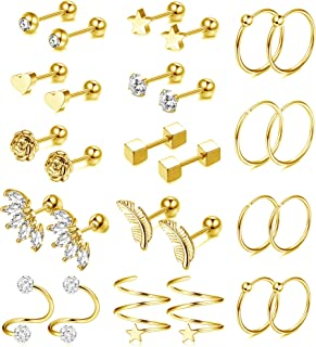 FIBO STEEL 14 Pairs Stainless Steel Cartilage Earrings Barbell Helix Daith Conch Hoop for Women CZ Flower Heart Star Tragu...