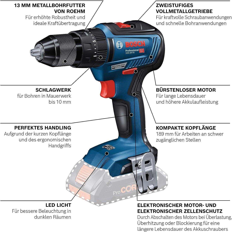 Azul 2 bater/ías x 2.0 Ah, 18V, 55 NM, en L-Case 18 V Bosch Professional 06019H5305 GSB 18V-55-Taladro percutor