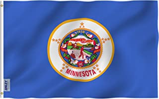 Anley Fly Breeze 3x5 Foot Minnesota State Flag - Vivid Color and UV Fade Resistant - Canvas Header and Double Stitched - Minnesota MN Flags Polyester with Brass Grommets 3 X 5 Ft