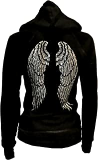 Lady Plus Size Angel Wings Zip up Hoodie Sweater with Rhinestones Front & Back