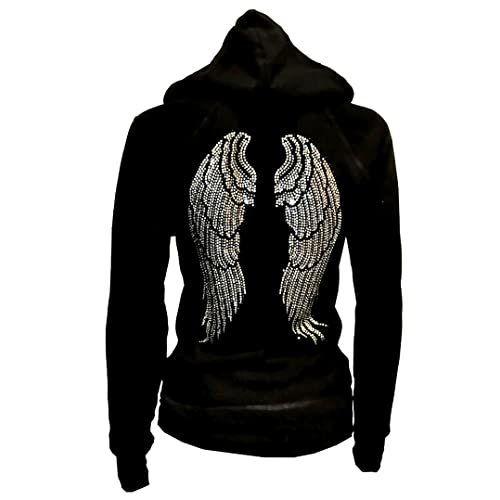 c63708eb8a0 Lady Plus Size Angel Wings Zip up Hoodie Sweater with Rhinestones Front    Back