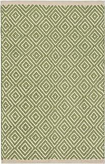 The Indian Arts Comercio Justo Diamond Tejido 100% algodón Handloom Alfombra con Acabado Cosido Borde 60x 90cm, Tela, Salvia, 60 x 90