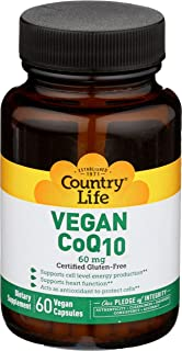 Country Life CoQ10, 60 mg. Vegetarian Capsules, 60-Count