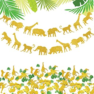 Gold Jungle Safari Animal Banner Confetti Party Supplies - 100PCS Animal Confetti & 2PCS Glitter Animal Garland for Jungle Safari Theme baby shower decorations Boys Girls Birthday Party Supplies Decorations