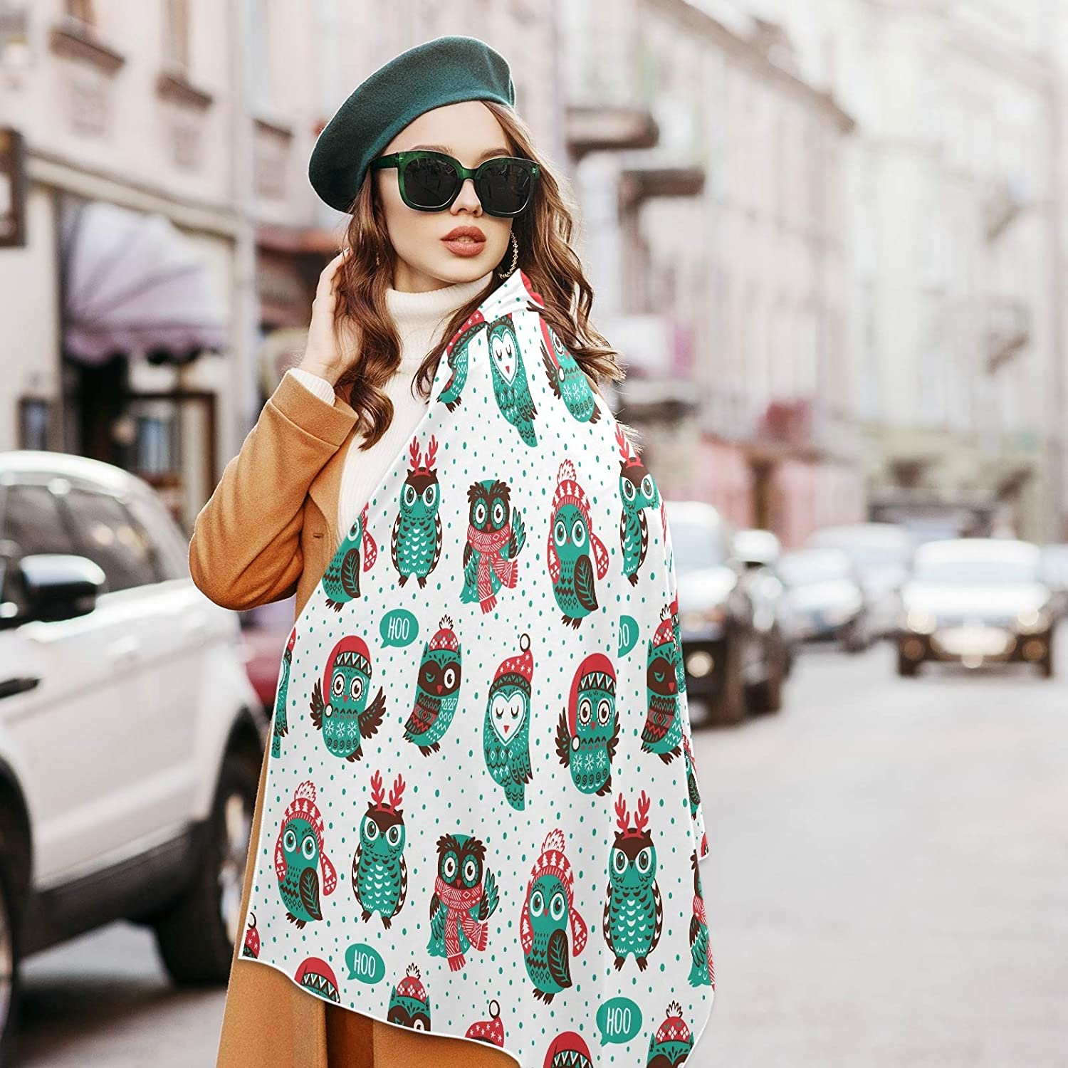 Scarf for Women and Men Christmas Owls Reindeer Antlers Blanket Shawl Scarf wraps Soft warm Winter Oversized Scarves Lightweight