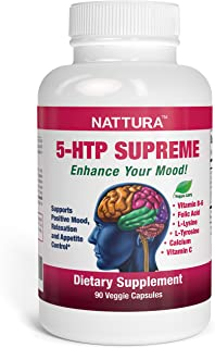 NATTURA 5-HTP Supreme - for Positive Mood, Relaxation and Appetite Control - with 5-HTP, L-Tyrosine, L-Lysine, Vitamin B6,...
