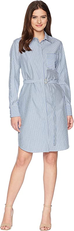 Calvin Klein Striped Long Sleeve Shirtdress CD8G18GC