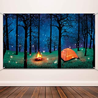 Blulu Forest Scene Camping Backdrop Supplies Camping Photography Background Photo Shoot Backdrop Party Decoration for Camp...