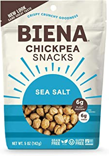 BIENA Chickpea Snacks, Sea Salt | Gluten Free | Vegan | Dairy Free | Plant Based Protein (Single 5 oz. Bag)