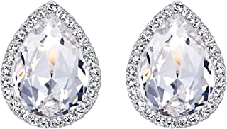 EVER FAITH Women's Austrian Crystal Wedding Teardrop Stud Earrings