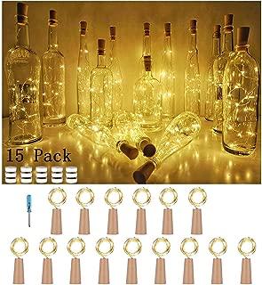 USiFar 15 x 20 LEDs 2M Bottle Light Warm White, Light Strip Cork Bottle Cap, Bottle Garland Cork Lights, Light Garland Star Lights for DIY Home