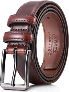 Gallery Seven Mens belt - Genuine Leather Dress Belt - Classic Casual Belt in Gift Box