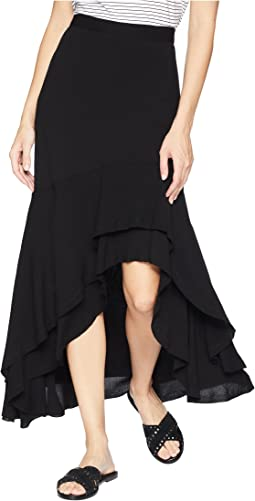Asymmetric Raw Hem Skirt