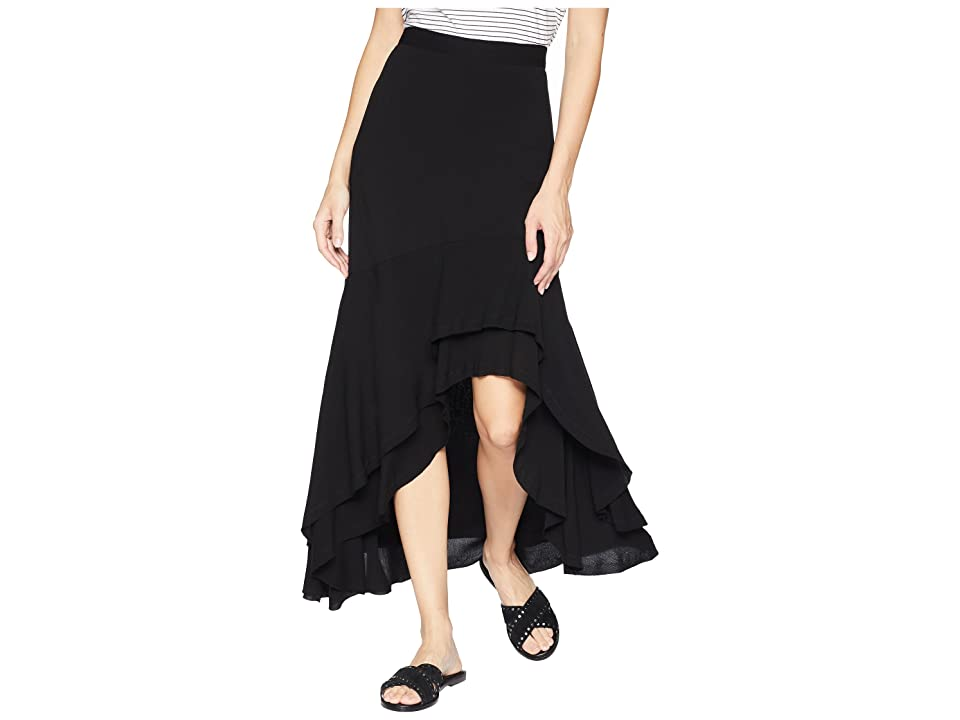 Karen Kane Asymmetric Raw Hem Skirt (Black) Women's Skirt