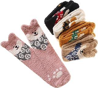 6 Pairs Women Super Soft Fuzzy Microfiber Winter Slipper Home Warm Socks (5 Pairs Dog)